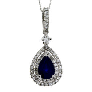 Double Halo White Gold Diamond & Sapphire Pendant